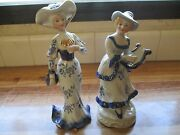 Vintage Victorian Lady Figurines Set 2 One Is Kpm Porcelain Other Unknown Cle