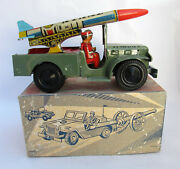 Vintage Handmade Tin Clockwork Greek Army Missile Jeep Nikolaidis Box 1950 Nos