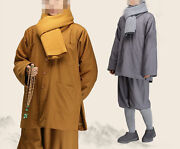 Winter Buddhist Monks Suits Wool Coat Clothes Lay Meditation Clothing Yellowgray