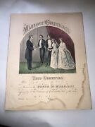 Original Currier And Ives Print Marriage Certificate Big Sheet Unusual