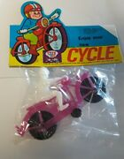 Dime Store Toy Plastic Motorcycle Rider Hong Kong 1970s Nos Vintage Cycle -pink