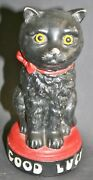 Antique German Composition Black Cat Still Bank With Glass Eyes 7.3/4 Tall