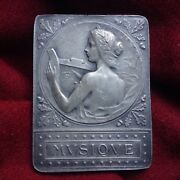 Antique 1923 Russian French Silver Bronze Medal Paris Nude Lady Music Instrument