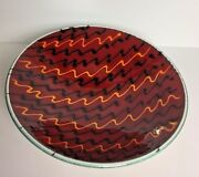 POOLE ENGLISH Art Pottery Bowl Red Yellow Black Abstract STROBE PATTERN - Rare