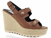 Coach Womenand039s Electra Wedge Sandals Pebble Grain Leather Saddle Brown 9.5 M
