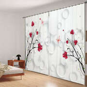 Red Flower In Corner 3d Blockout Photo Curtain Print Curtains Fabric Kids Window