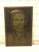 Vintage Metal Bas Relief Plaque Art Of Girl / Woman W/ Bows In Hair