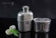 Full Titanium Military Water Bottle+ Canteen Cup Camping And Hiking 1100ml + 700ml