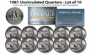 1981 Us Mint Quarters Uncirculated Coins From U.s. Mint Cello Packs Qty 10