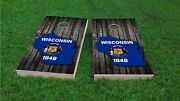 Wisconsin State Outline With Flag Overlay Custom Cornhole Board Set