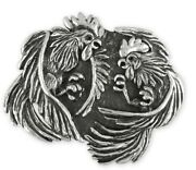 Fighting Rooster Belt Buckle Handmade Sterling Silver Mens Jewelry Rst3-bk