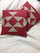 Going In All Directions -- Rust And Tan Patchwork Throw Pillow Set