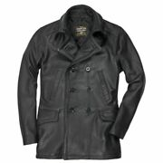 Cockpit Usa Vintage Leather Naval Officers Peacoat Usa Made Z21p019