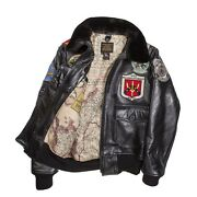 Cockpit Usa Top Gun Navy G-1 Leather Jacket Brown Made In Usa G1   Z201036m