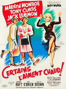 Movie Poster Some Like It Hot 1959 French Style B 47x63 Vf 8.0 Marilyn Monroe