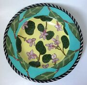 Droll Designs Hand Painted Serving Bowl Art Pottery 12""