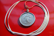 Real Antique French Coin Pendant Necklace 25mm Franc Bezel On A 24 Snake Chain