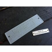 Vw Vin Name Plate And Made In Western Germany Tag Bug Samba Bus Oval Split Zwitter