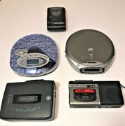 Lot Of 5 Non Working Portable Cd Micro Cassette Radio Voice Players