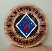 Us Marine Corps 1st Marine Division Laser Cut 3d Wood Wall Tribute Plaque 11andfrac14