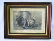 53 Circa 1850 Framed Engraving Of Introduction Of Christianity To Britain