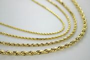 Authentic 10k Solid Yellow Gold D/c Rope Chain 1.5mm5mm/1630
