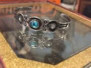 Early Navajo Petite Whirling Log Sterling Silver Turquoise Stamp Bracelet