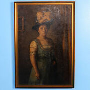 Original Oil On Canvas Portraitstanding Woman With Hat And Feather Signed