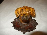 Antique All Original Painted Cast Iron Figural Dog Inkwell Glass Eyes Circa 1875