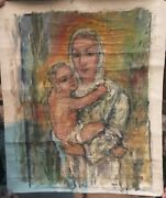 Rare Mathias Barz Germany, 1895-1982, Madonna And Child Oil On Canvas