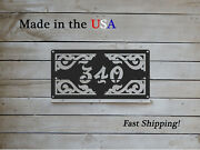 Decorative Rectangle Horizontal Address Plaque With Scrollwork Hn1150