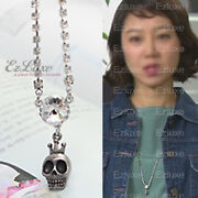 Korean Drama Best The Greatest Love Skull Crown Crystal Tennis Chain Necklace