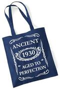 91st Birthday Gift Tote Mam Shopping Cotton Bag Ancient 1930 Aged To Perfection