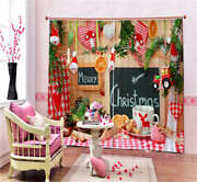Pink Merry Christmas 3d Blockout Photo Curtain Print Curtains Fabric Kids Window