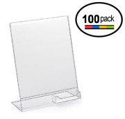 8.5 X 11 Clear Acrylic Slanted Sign Holder Displays With Business Card Holder