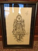 Disney Beauty And The Beast - Cogsworth Final Stage Sketch Ann Hould-ward Coas