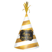 Happy New Year White And Gold Foil Stripe Cone Hats X 12