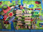 87 Piece Wooden Train Track Set With Train Vehicles Buildings Signs And Moreandnbsp