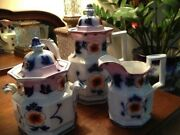 Gaudy Welsh Gaudy Ironstone Teapotsucrier And Creamer- Stunning