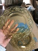 """4 Rosemary Dutch Rose 91/2"""" Glass Dinner Plates Yellow Depression Federal"""