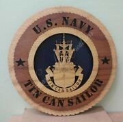 Us Navy Tin Can Sailor Laser Cut 3d Wood Wall Tribute Plaque 11¼