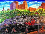 Original Oil Painting Arthur Robins Central Park Nyc Cityscape Horse Carriage Nr