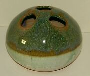 Vintage Canterbury Pottery Flower Frog Vase  Green & Brown Drip Glaze - VGUC