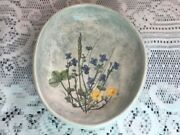 VINTAGE Salt Marsh Pottery Flower Oval  Wall Hanging clover handmade Dartmouth