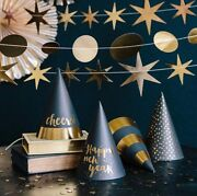 8pcs/lot 2020 New Yearand039s Eve Black And Gold Party Hats Happy New Year And Cheers