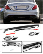 For 14-up S-class W222 Amg Style Rear Bumper Quad Tip Exhaust Muffler Diffuser