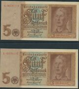 Currency Germany 1939 Ww2 Fascism War Reichmark Sequential Pair Uncirculated