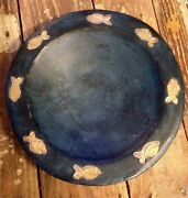 BOWL ART POTTERY MIDNIGHT BLUE GOLD COLORED FISH Handmade 11 1/2""