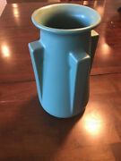 "NEW TECO POTTERY 4-BUTTRESS 10 1/2"" VASE  Prairie Arts & Crafts"