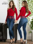 Sexy Colombianas Jeans Levanta Cola Blue Skinny High Waist Butt Lifter Slimming